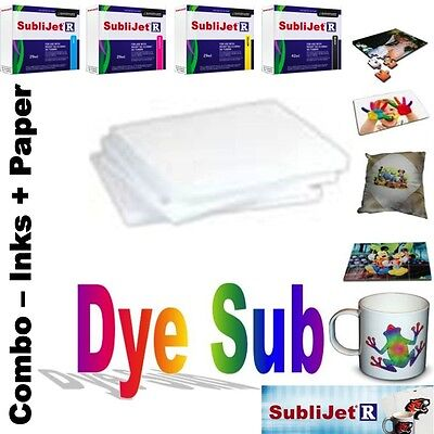 Sublimation Combo Sublijet-R Ink Set (Cmyk) For Ricoh Sg 3110D+ 100 Sheets Paper