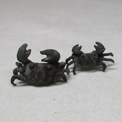 B325: Pair of Japanese copper small crab statue as ornament for BONSAI