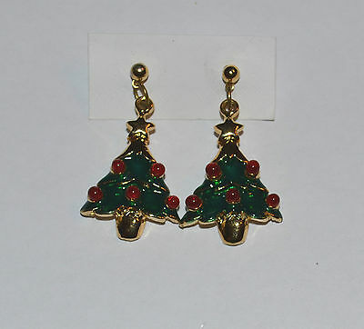 Vintage Enamel Christmas Tree Earrings With Red Glass Cabochons Decorations