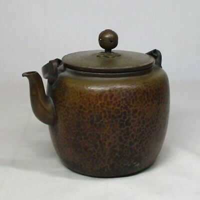 B305: Japanese old copper tea kettle of good UCHIDASHI work and taste
