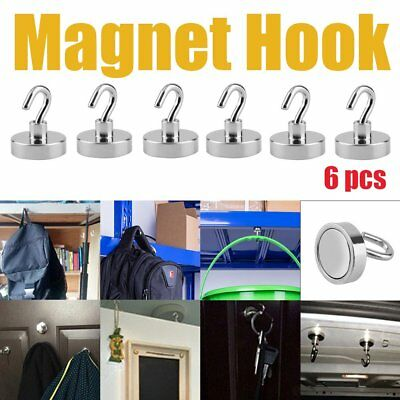 6x 22kg Strong Magnet Hooks Rare Earth N38 Neodymium Magnetic Hanger Holder RR
