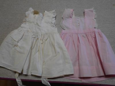 Vintage Lot Of 2 Little Girl's Pinafore Dresses..child Or Large Doll..handmade