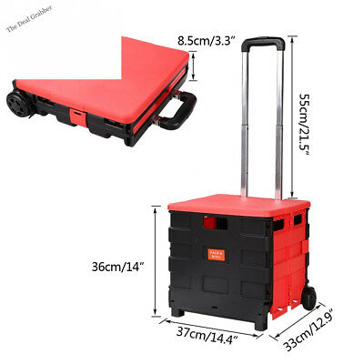 Folding Two-Wheeled Trolley Hand Cart Plastic Hefty Heavy Carry Shopping...