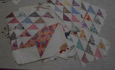 Lot Of 30 Vintage Quilt Blocks And Pieces..machine Sewn..flower Basket??