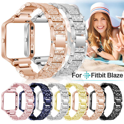 Rhinestone Blink Bracelet Band Strap Stainless Steel With Frame For Fitbit Blaze