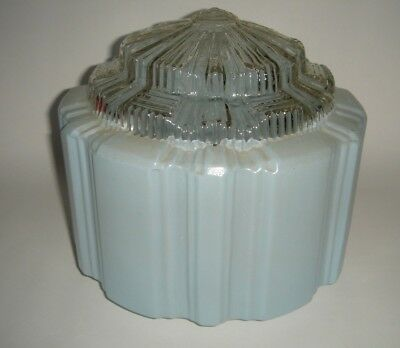 Art Deco Blue SkyScraper Glass Shade with Clear Defuser Vintage Lamp / Ceiling