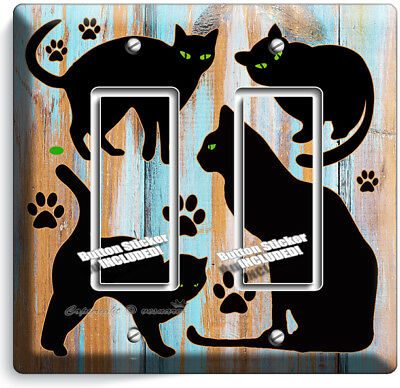 Black Cats Rustic Paint Wood Double Gfci Light Switch Wall Plate Room Home Decor