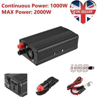 1000W(2000W Peak) Power Inverter Car DC 12V to 220V AC Converter w/ USB Charger