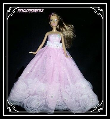 Barbie Doll Clothes Pink Embossed Dress Wedding/Party/Evening/Clothes/Outfit/NEW