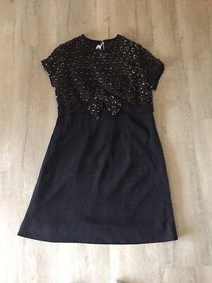 Vintage 1960's Black And Gold Bow Shift Dress
