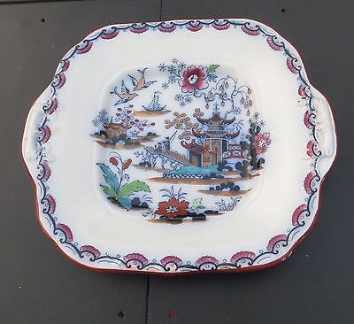 Poly-Chrome Gaudy Willow Croft & Edge Hong Pattern Bread & Butter/Cake Plate #1