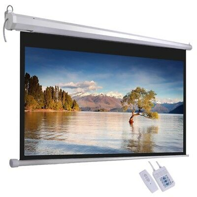 """120"""" Electric Motorised Projector Screen Remote Home Cinema TV 16:9 Projection"""