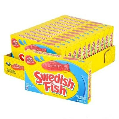 904945 12 x 88g THEATRE BOXES OF SWEDISH FISH BRAND SOFT & CHEWY RED CANDIES USA