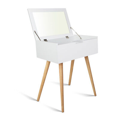 Dressing Table with Foldaway Mirror White Make Up Accessories Storage Organizer