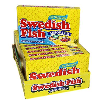 907870 12 x 99g BOXES OF SWEDISH FISH ASSORTED FLAVORS SOFT & CHEWY CANDY U.S.A.