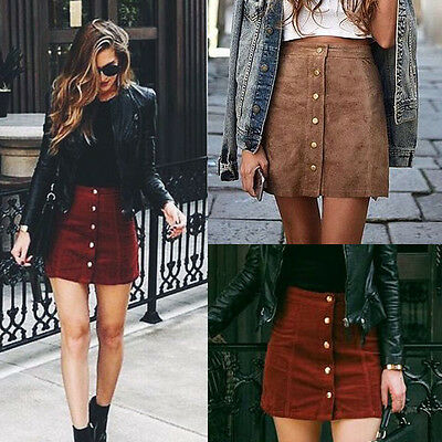 Fashion Women's High Waist Lace Up Suede Leather Pocket Preppy Short Mini Skirts