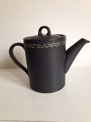Scraffito Habitat ceramic black Coffee / Tea Pot