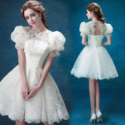Womens Lace Flower Puff Sleeve Bride Backless Wedding Dress Bandage Ball Gown