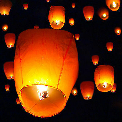 New 50 White Chinese Paper Sky Flying Wishing Lantern Lamp Candle Party Wedding