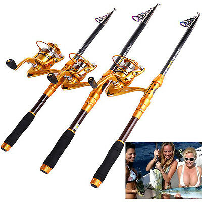 Telescopic Fishing Rod and Reel Combos Spinning Fishing Reel Saltwater one Sets
