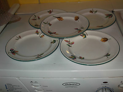 Five ?1871  Minton Best Body Small Dinner  Plates   With A Similar Leaf Patterns
