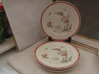 Four Salad Plates Showing A Flowering Tree, Birds & Flying Insects  Tuscan China