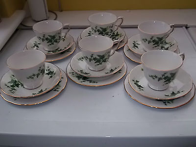 Six Royal Vale [Ridgways] Cups, Saucers And Side Plates With An Ivy Leaf Pattern