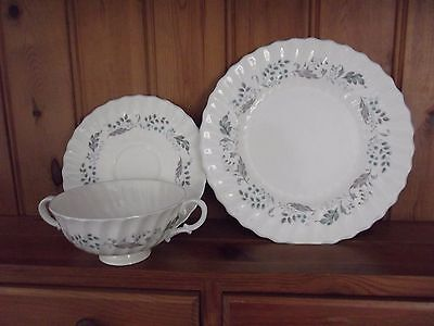 "Royal Doulton ""glen Auldyn"" Soup Cup And Saucer And Side Plate"