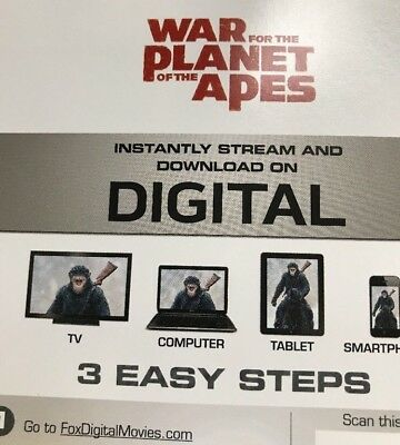 * US CODE * War For The Planet Of The Apes Ultraviolet UV Digitial Download Code