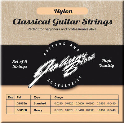 Johnny Brook High Quality Nylon Classic Classical Guitar Strings String 6 Pack