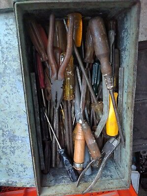 one steel toolbox of old tools: screwdrivers, pliers, chisels