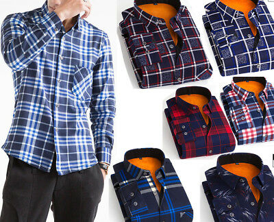 Mens Slim Warm Lined Casual Plaid Casual Shirts Winter Tops Long Sleeve Blouse