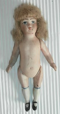 Antique  French  Or  German  All  Bisque  Mignonette  Doll