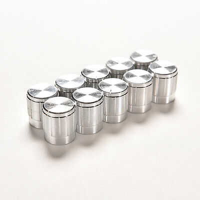 10X Aluminum Knobs Switch Potentiometer Volume Control Pointer Hole 6mm Fad&Hot