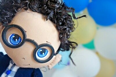 New Handmade Felt Doll Boy 30cm Fur Leather Glasses Blue Eyes Black Hair Stuffed