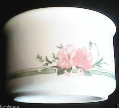 Staffordshire Tableware Cream Sugar Bowl with Green and Pink Floral Designs.