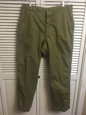 Vintage Military? Wool Lined Heavy Khaki Button Fly Pants Men's 38x33