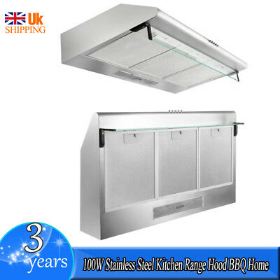 100W Stainless Steel Kitchen Range Hood BBQ Home Restaurant Fixed Easy to Clean