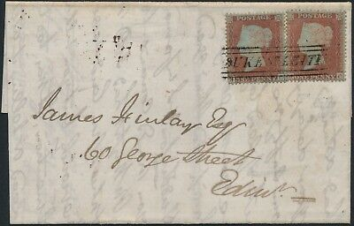"Two 1854 SG17 1d reds on wrapper cancelled by Duke Street ""Scots Local"""