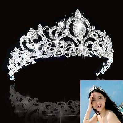 Flower Rhinestone Bridal Tiara Crown w/ Comb Pin for Wedding/Engagement/Prom Hot