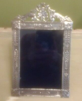 Unusual antique ornate heavy Solid silver hallmarked photo picture frame