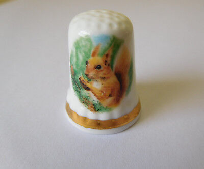 Red squirrel, bone china thimble, Finsbury