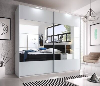 Brand New Modern Bedroom Mirror Sliding Wardrobe CARPATIA 215cm in White Matt