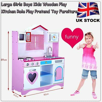 Large Girls Boys Wooden Play Kitchen Kids Chefs Food Role Play Pretend Set Toy