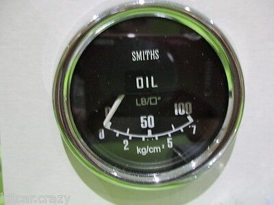 Smiths Oil Pressure Gauge ,50Mm Black Face With Chrome , Mini , Mg,13H4459