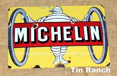 MICHELIN MAN cycle TIN SIGN Vintage bike CYCLING man bicycle tyre advert retro
