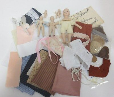 Job Lot of Porcelain Doll Making Items 5 Small Dolls Hair Fabric Stands Shoes *