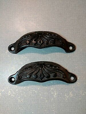 Antique Vintage Lot of 2 Cast Iron Drawer Handle Cup Pulls Apothecary Victorian