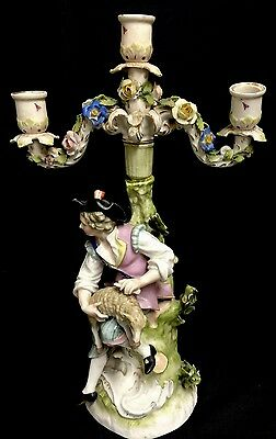 Circa 1880 Sitzendorf Figural Candelabrum Of A Shepherd Shearing His Sheep