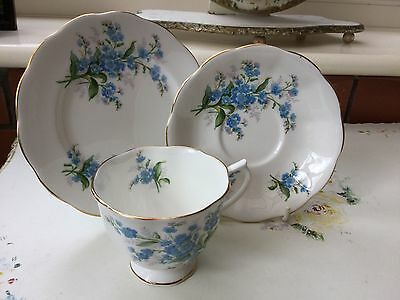 Pretty Royal Albert Forget Me Not Trio, Teacup, Saucer and Side Plate
